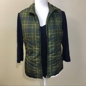 Green Plaid Vest Quilted Lightweight